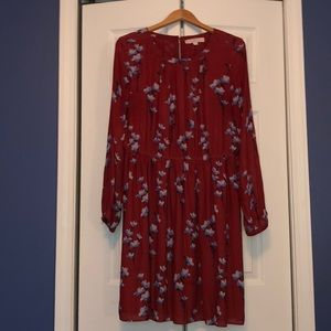 Loft Burnt Red with Flowers Dress